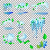 Vector spring icicles. Icicles are melting stock illustration