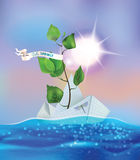 Vector spring illustration with paper boat on a wave. Illustration with paper ship swimming on spring brook Royalty Free Stock Images