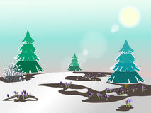 Vector spring landscape. The first snowdrops. Melted snow. Green fir trees in the snow. Clear weather Stock Photography