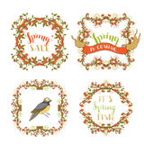 Vector spring ornate frames isolated on white background. Royalty Free Stock Photography