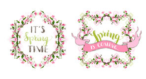 Vector spring ornate frames. Ornaments and flourishes, pink cherry blossoms and green leaves on tree branches. Hand-written lettering. Seasonal page decorations royalty free illustration