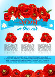 Vector spring poster of poppy flowers wreath Royalty Free Stock Photo