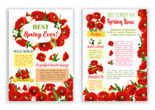 Vector spring poster of red poppy flowers bouquets Stock Image