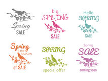 Vector spring sale badge signs Royalty Free Stock Photos