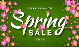 Vector Spring Sale banner with typographic calligraphic lettering text on bright green background colorful paper flowers Royalty Free Stock Photo