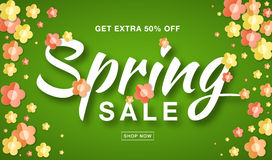 Vector Spring Sale banner with typographic calligraphic lettering text on bright green background colorful paper flowers Stock Photos