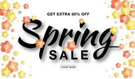 Vector Spring Sale banner with typographic calligraphic lettering text on white background with colorful paper flowers. Royalty Free Stock Photo
