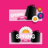 Vector spring sale design template banner or tag on pink background. Abstract spring sale pink label or background with. Beautiful flowers and text stock illustration