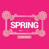 Vector spring sale design template banner or tag on pink background. Abstract spring sale pink label or background with. Beautiful flowers and text vector illustration