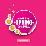 Vector spring sale design template banner or tag on pink background. Abstract spring sale pink label or background with. Beautiful flowers and text royalty free illustration