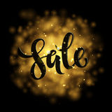 Vector spring sale poster with gold shining background Stock Image