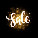 Vector spring sale poster with gold shining background Stock Photography