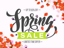 Vector spring sale poster with hand drawn title Stock Photos