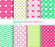 Vector spring seamless patterns collection. Soft repeated textures. Geometric backgrounds set. For cute wallpapers, wrapping paper vector illustration