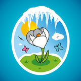 Vector spring snowdrop in frame. The first spring flower on the lawn and icicles Royalty Free Stock Image