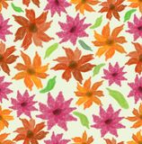 Vector spring or summer backgroound with grunge watercolor flowers in red and orange, seamless tile Stock Images