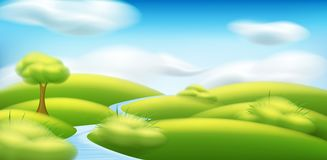 Vector spring-summer landscape. Illustration with trees, clouds, green grass, meadow stock illustration