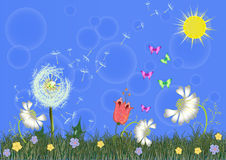 Vector of spring with sun Stock Photos