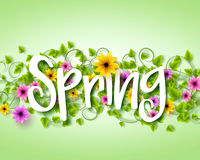 Vector Spring Text Design with Colorful Realistic Elements Royalty Free Stock Image