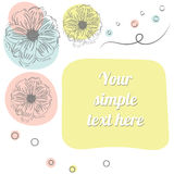 Vector spring time background with flowers. Greeting card with flowers. Your simple text here stock illustration