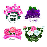 Vector spring time greeting quotes flowers design Stock Photo