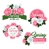 Vector spring time greeting quotes and flowers set Royalty Free Stock Photography