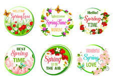 Vector spring time greeting quotes in icons set Royalty Free Stock Photos