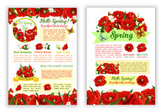 Vector spring time poppy flowers greeting poster Stock Image