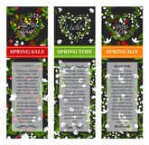 Vector spring time sale vector posters set. Spring vector banners for sale and greetings. Flowers design and floral hearts ornaments for springtime shopping Royalty Free Stock Photos