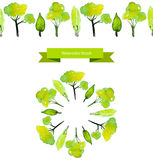 Vector spring tree brush. Green watercolor trees Royalty Free Stock Image