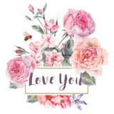 Vector spring vintage floral greeting card with bouquet of roses Stock Photo