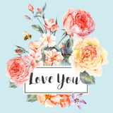 Vector spring vintage floral greeting card with bouquet of roses. Classical vector spring vintage floral greeting card, bouquet of pink flowers blooming branches Royalty Free Stock Image