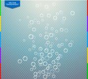 Vector sprudelnde WasserLuftblasebeschaffenheit auf transparentem Hintergrund Lizenzfreie Stockfotografie