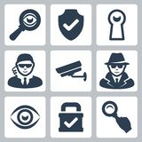 Vector spy and security icons set royalty free illustration