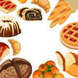 Vector square bakery frame. Baked bread products wheat, rye bread loafs, bagels, sliced bread toasts, croissant, bun. Cherry pie, cake with icing Stock Photo