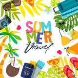 Vector square banner, poster or flyer background for summer travel, holidays and tourism. Vector square banner, poster or flyer design template with palm leaves Stock Images