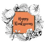 Vector square border greeting card for Thanksgiving. Hand drawn vintage engraved illustration. Stock Photography