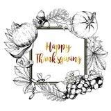 Vector square border greeting card for Thanksgiving.Hand drawn vintage engraved illustration. Royalty Free Stock Image