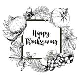 Vector square border greeting card for Thanksgiving. Hand drawn vintage engraved illustration. Stock Image