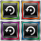 Vector square button with computer refresh icon. Vector set of square colorful buttons with computer refresh icon on black background Royalty Free Stock Image