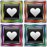 Vector square button with heart or love icon. Vector set of square colorful buttons with heart or love e-mail icon on black background Stock Photos