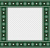 Vector square christmas bordering, photo frame, scrapbooking element, copy space. Cute Christmas or new year green border with xmas snowflakes pattern ornament vector illustration