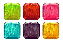 Vector square colorful slime buttons set. Isolated on white Stock Photo