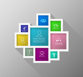 Vector square colour group with icons number for brochure Royalty Free Stock Photography