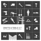 Vector square crafts and tools icon set Stock Photo