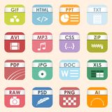 Vector square file types and formats labels icon set. File type format icons presentation document symbol. Audio. Simple vector square file types and formats Royalty Free Stock Image