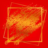 Vector Square Frame And Golden Crayon Streak For Lunar Related Element Design At Gradient Red Background Royalty Free Stock Photography
