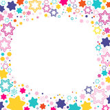 Vector square frame with colored stars David on the white background, sparkles colored symbols - star glitter, stellar flare. Illustration Stock Image