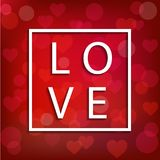 Vector square frame for Saint Valentine`s Day Stock Photos