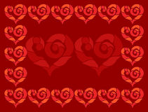 Vector square frame of scarlet hearts on maroon background. Vivid, cute and romantic picture. Royalty Free Stock Photography